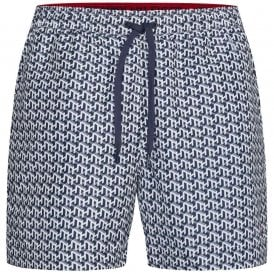 Medium Drawstring Print Swim Shorts, TH Cube PRT - White