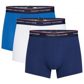Premium Essentials Stretch Cotton 3-Pack Trunk, Blue Depths/Lapis Blue/White