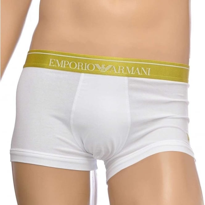 Emporio Armani Fashion Embroidery Stretch Cotton Trunk, White