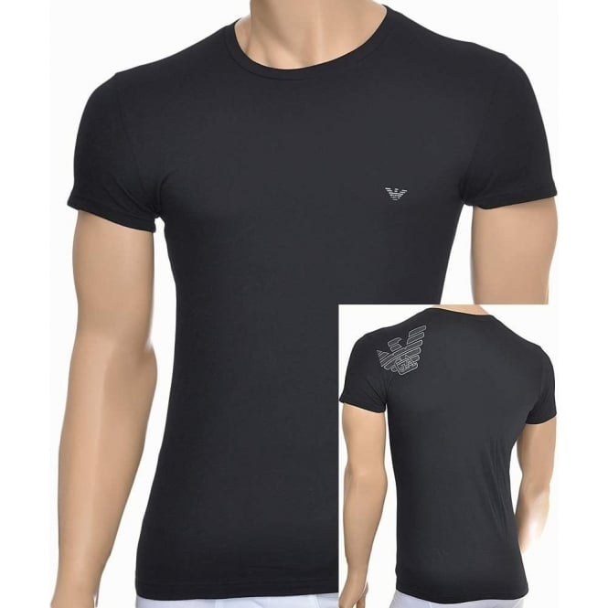 Emporio Armani Eagle Stretch Cotton Crew Neck T-Shirt, Black