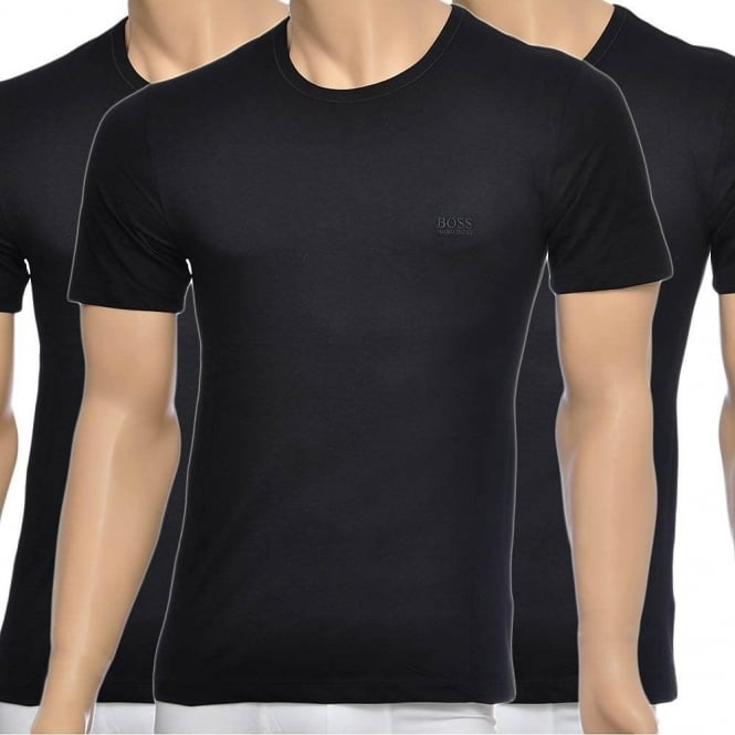 HUGO BOSS 3-Pack Cotton Classic Crew Neck T-Shirt, Black