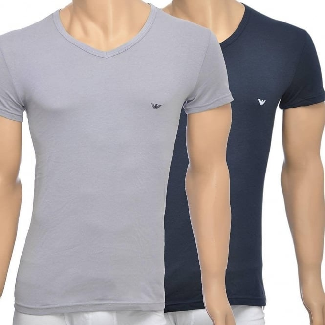 Emporio Armani 2-Pack Stretch Cotton V-Neck T-shirt, Grey/Navy
