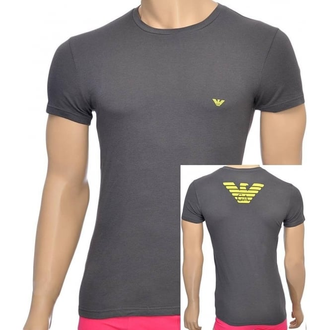 Emporio Armani Eagle Stretch Cotton Crew Neck T-Shirt, Asphalt Grey