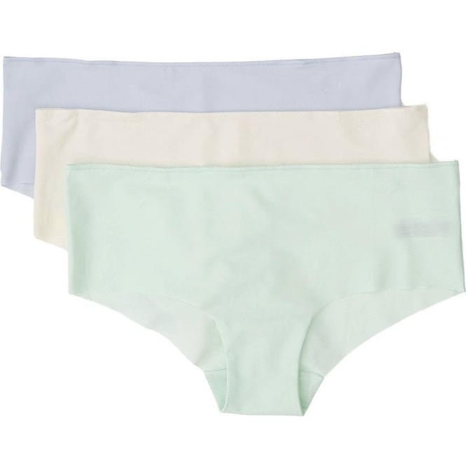 Tommy Hilfiger Women Smooth Comfort Prinsy 3-Pack Shorty Brief, Egret/Blue/Honeydew
