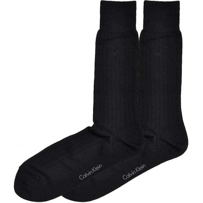 Calvin Klein 2-Pack Fine Rib Wool Socks, Black