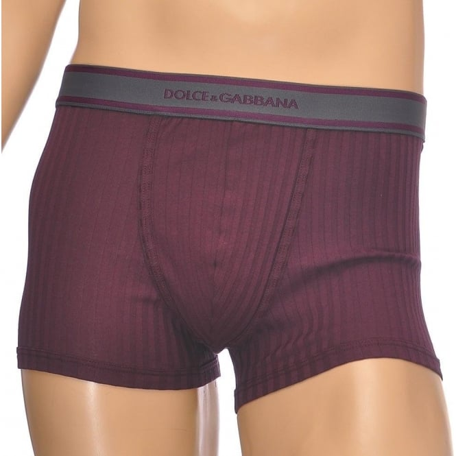 Dolce & Gabbana Stretch Ribbed Cotton Regular Boxer, Burgundy