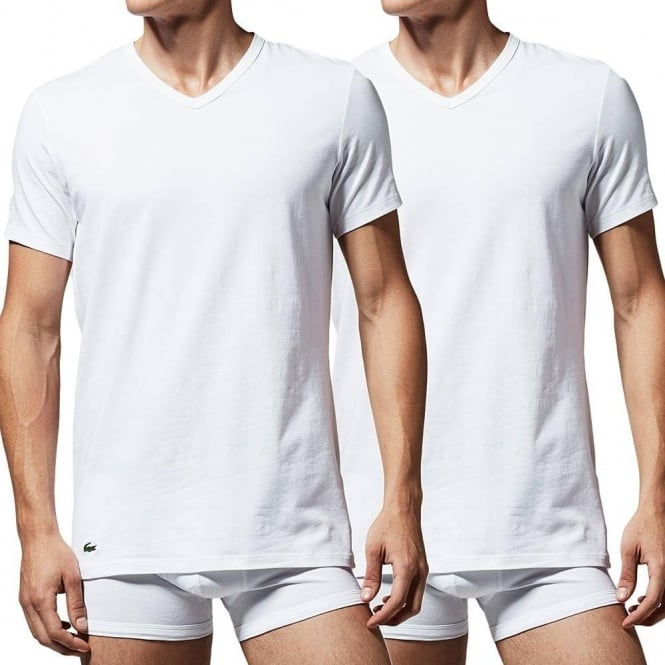 Lacoste Cotton Stretch 2-Pack V-Neck T-Shirt, White