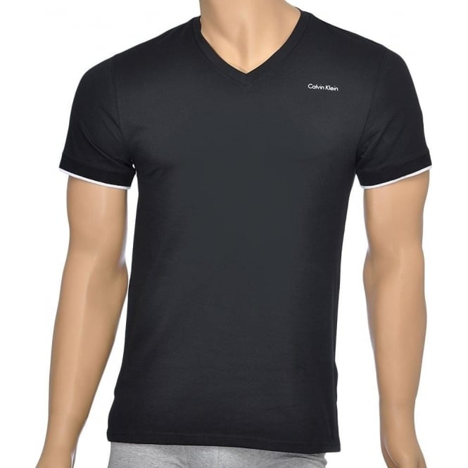 Calvin Klein Core Solid Short Sleeve V-Neck T-Shirt, Black