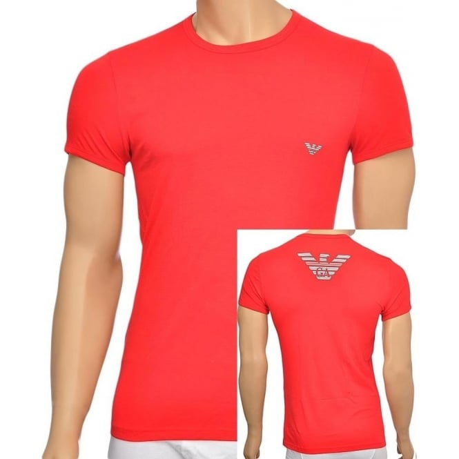 Emporio Armani Eagle Stretch Cotton Crew Neck T-Shirt, Red