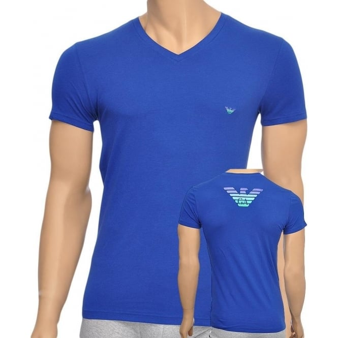Emporio Armani Eagle Stretch Cotton V-Neck T-Shirt, Blue