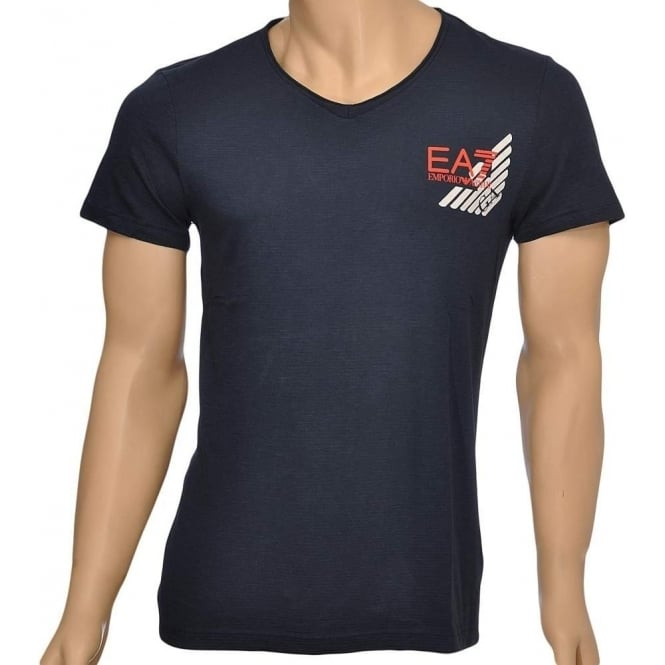 EA7 Emporio Armani Sea World Core Eagle V-Neck T-Shirt, Blue