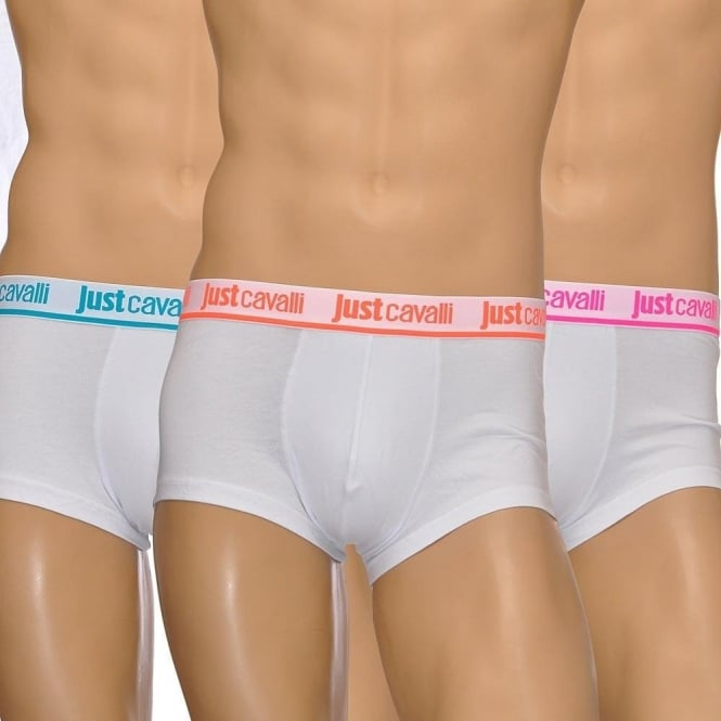 Just Cavalli Cotton Stretch 3-Pack Boxer Trunks, White/Neon