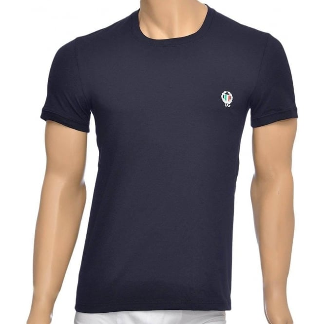 Dolce & Gabbana Sport Crest Crew Neck Stretch Cotton T-Shirt, Navy