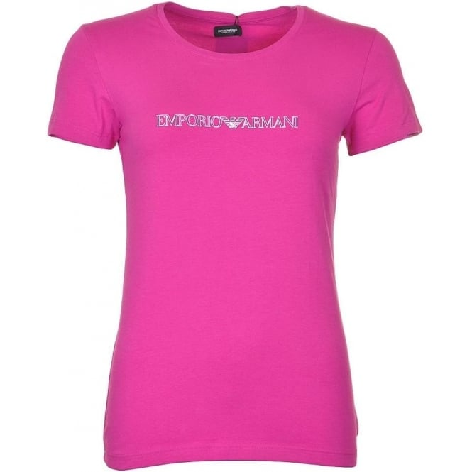 Emporio Armani Women Visibility Stretch Cotton Crew Neck T-Shirt, Pink