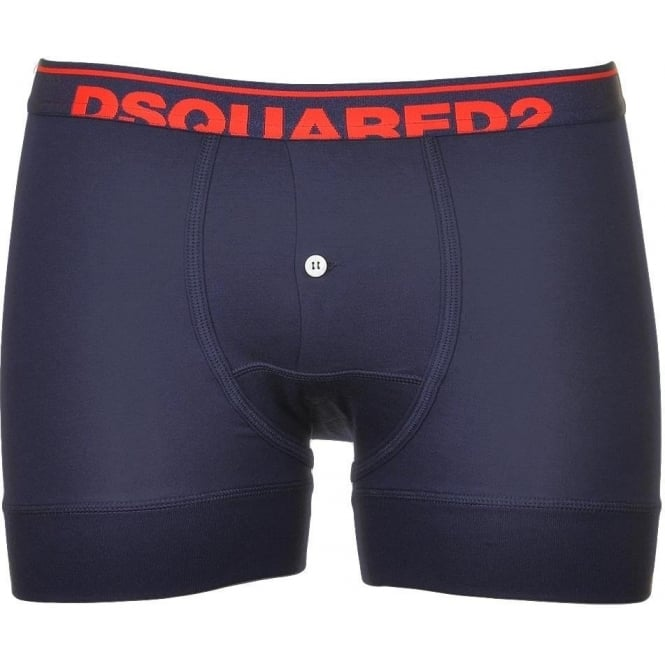 DSQUARED2 Modal Stretch Logo Button Front Boxer, Navy