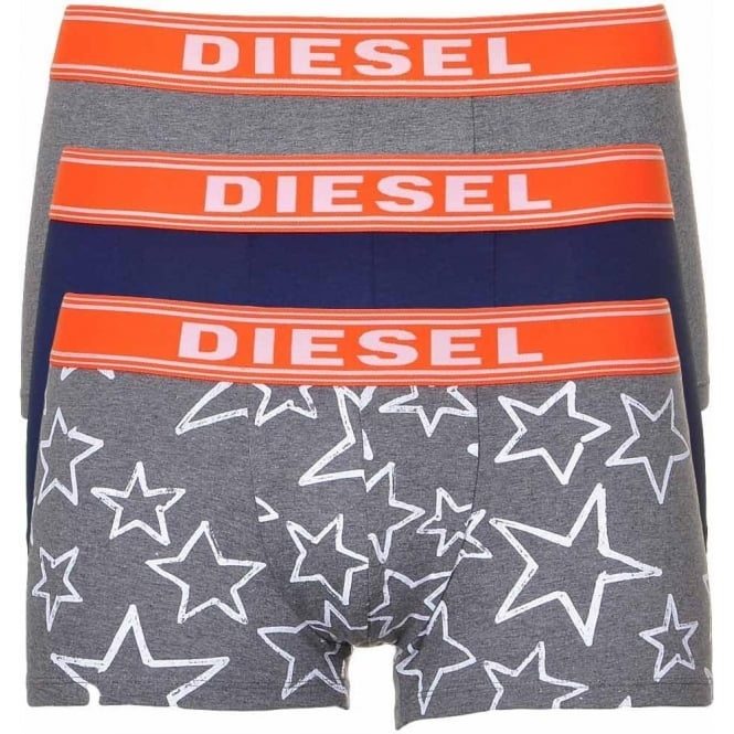 DIESEL 3-Pack Boxer Trunk UMBX-Shawn, Grey/Navy/Stars