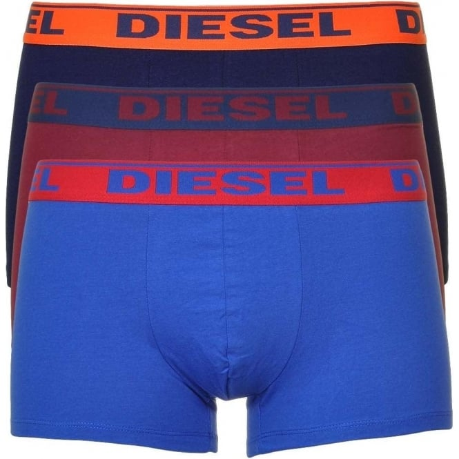 DIESEL Fresh & Bright 3-Pack Boxer Trunk UMBX-Shawn, Navy/Burgundy/Blue