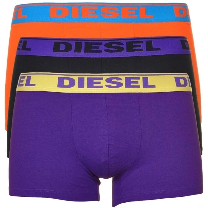 DIESEL Fresh & Bright 3-Pack Boxer Trunk UMBX-Shawn, Orange/Black/Purple