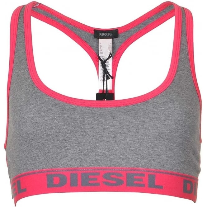 DIESEL Women MILEY Cotton Bralette, Grey/Pink