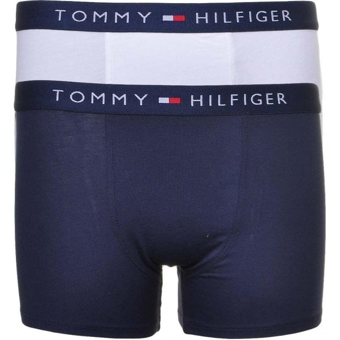 Tommy Hilfiger Boys 2 Pack Icon Boxer Trunk, White / Navy