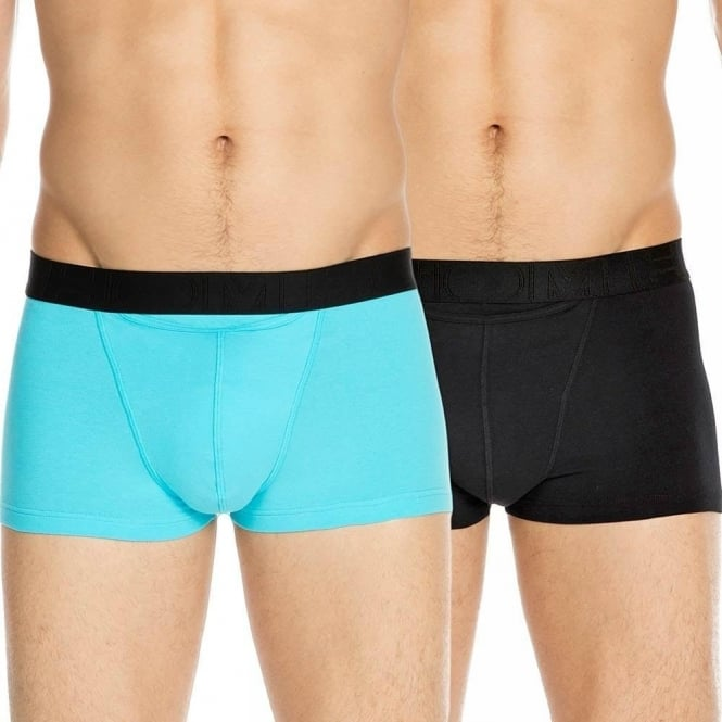 HOM HO1 Boxerlines Boxer Brief 2-Pack, Black/Turquoise