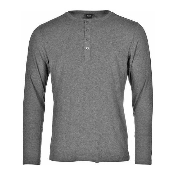 HUGO BOSS Long Sleeve Cotton Modal Button Crew Neck T-Shirt, Charcoal Grey