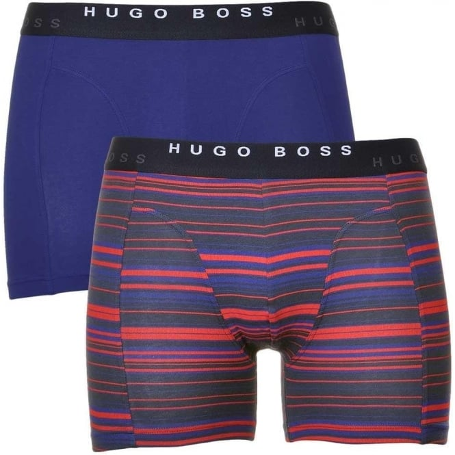 HUGO BOSS Cotton Stretch 2-Pack Cyclist Boxer Brief, Navy / Red Stripe