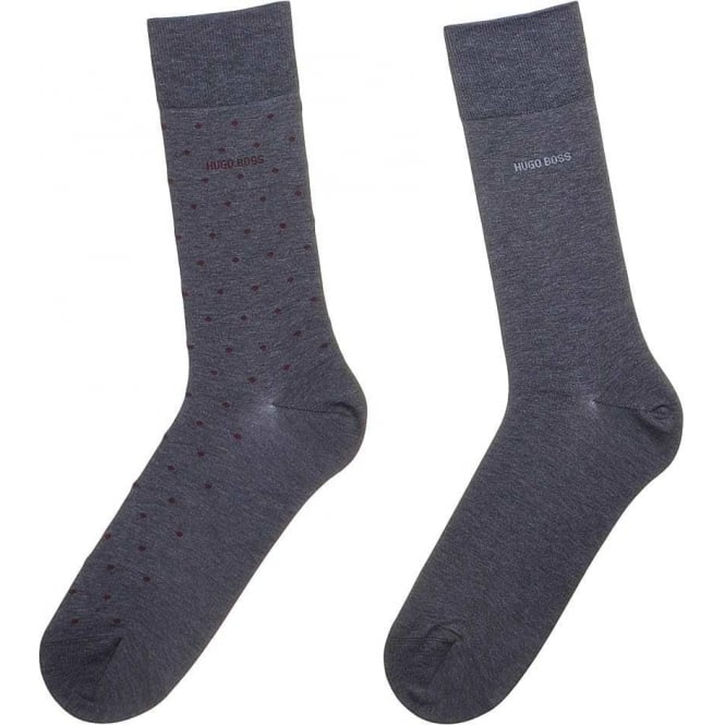 HUGO BOSS 2 Pack Finest Egyptian Cotton Logo Socks, Grey/Burgundy Spot