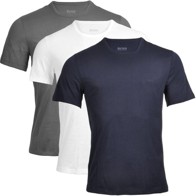 HUGO BOSS 3-Pack Cotton Classic Crew Neck T-Shirt, Grey/Navy/White