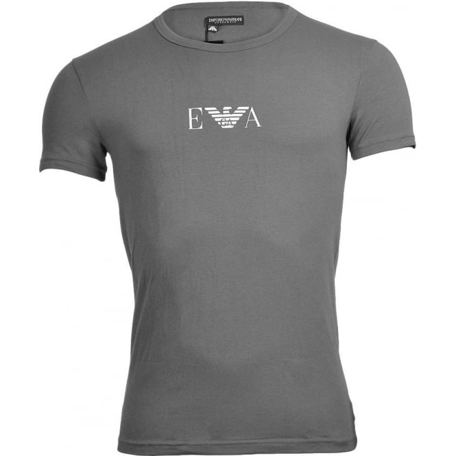 Emporio Armani Coloured Stretch Cotton Logo Crew Neck T-Shirt, Grey