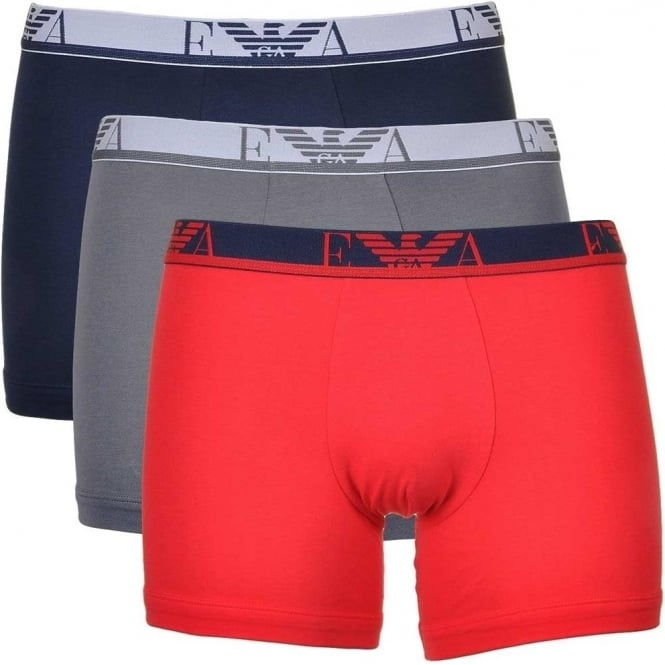 Emporio Armani Coloured Stretch Cotton Logo 3-Pack Boxer Brief, Red/Marine/Grey