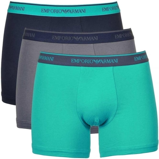 Emporio Armani Coloured Stretch Cotton 3-Pack Boxer Brief, Marine/Lagoon/Grey
