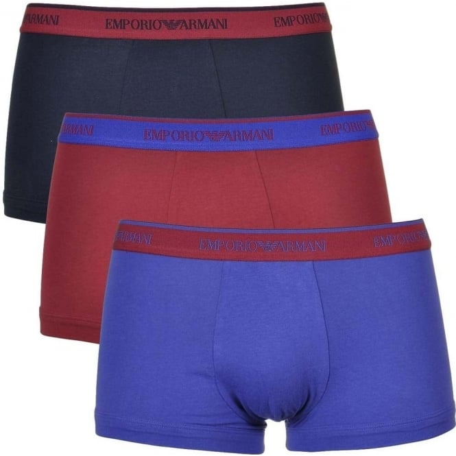 Emporio Armani Coloured Stretch Cotton 3-Pack Trunk, Marine/Red Currant/Ink