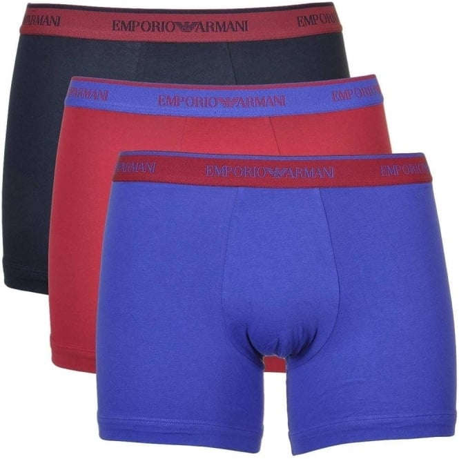 Emporio Armani Coloured Stretch Cotton 3-Pack Boxer Brief, Marine/Red Currant/Ink