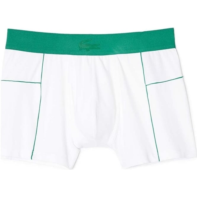 Lacoste Motion Micro Mesh Stretch Boxer Trunk, White/Green