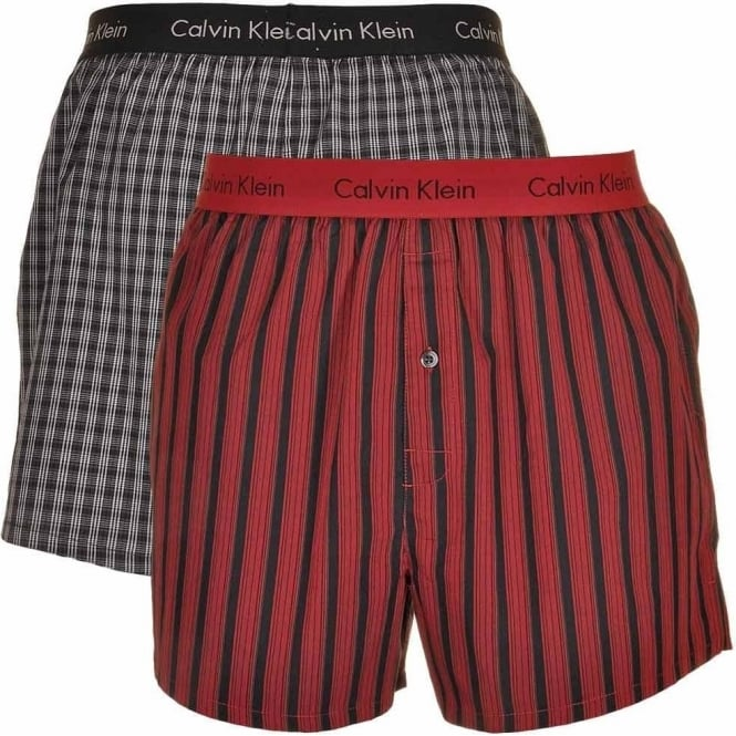 Calvin Klein Woven Slim Fit Boxer 2-Pack, Hamill Plaid Iron Ore/Barn Stripe Red