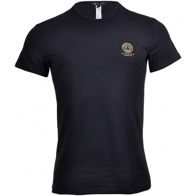 Versace Iconic Stretch Cotton Crew Neck T-Shirt, Black