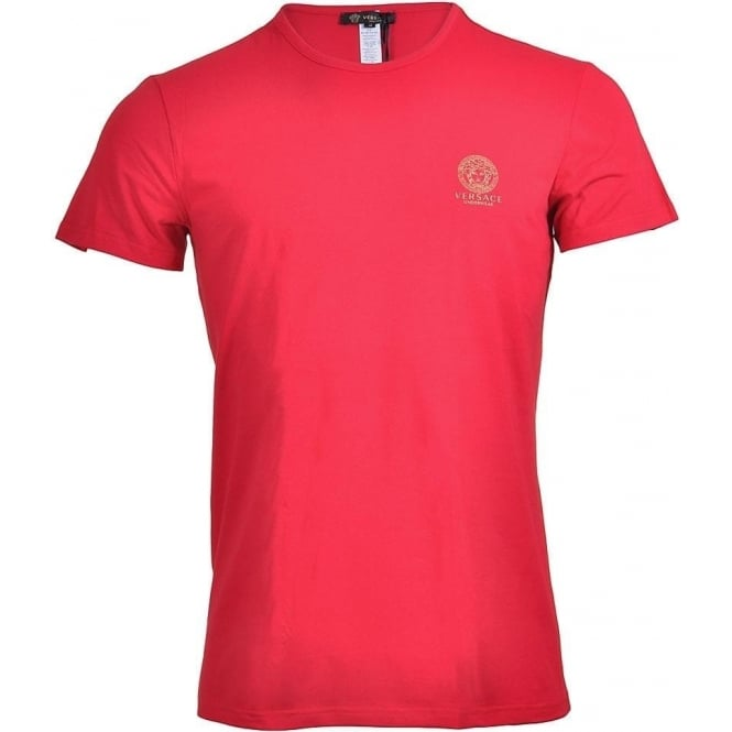 Versace Iconic Stretch Cotton Crew Neck T-Shirt, Red