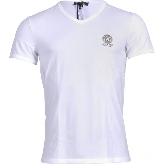 Versace Iconic Stretch Cotton V-Neck T-Shirt, White