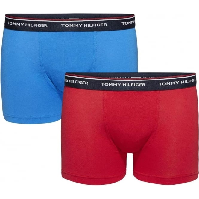 Tommy Hilfiger Boys 2 Pack Premium Essentials Boxer Trunk, Brilliant Blue / Tango Red