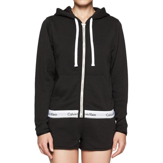 Calvin Klein Women Modern Cotton Zip Hoody, Black
