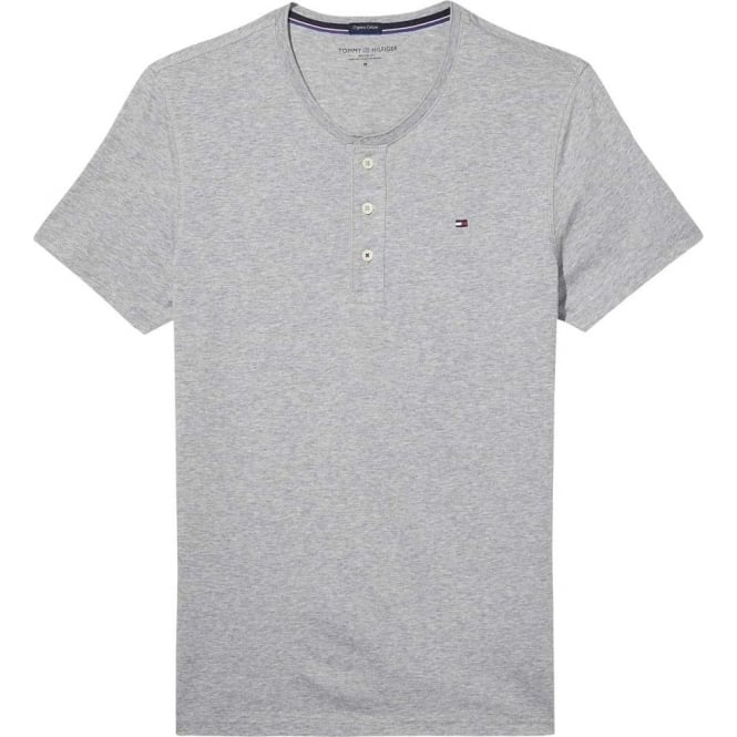 Tommy Hilfiger Organic Cotton Short Sleeved Henley T-Shirt, Heather Grey