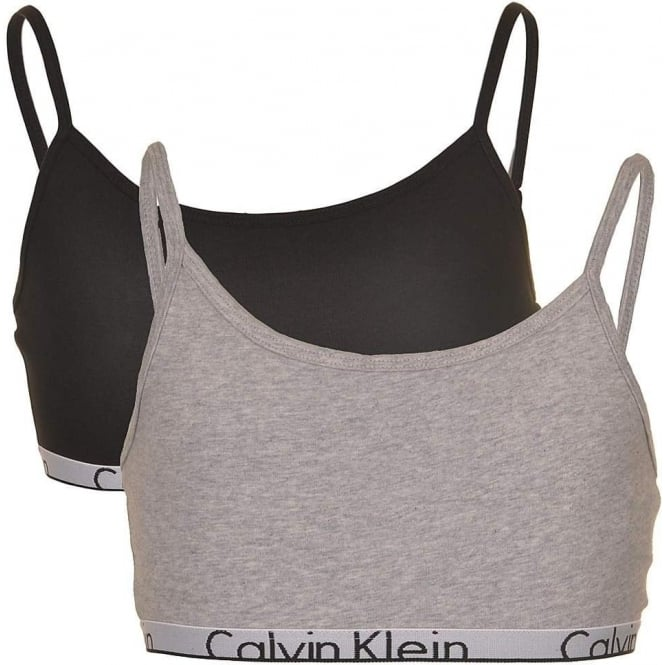 Calvin Klein GIRLS 2 Pack Modern Cotton String Bralette, Black / Grey
