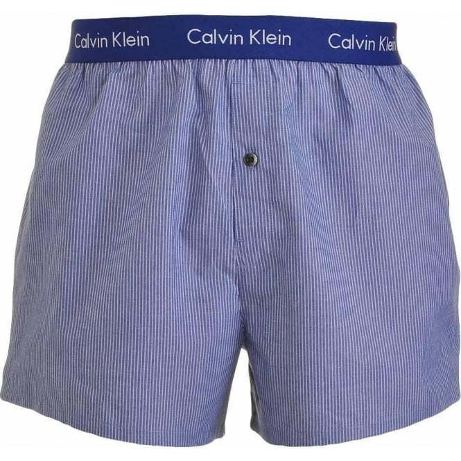Calvin Klein Woven Slim Fit Boxer, Yardley Stripe - Dark Midnight
