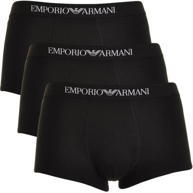 Emporio Armani Pure Cotton 3-Pack Trunk, Black