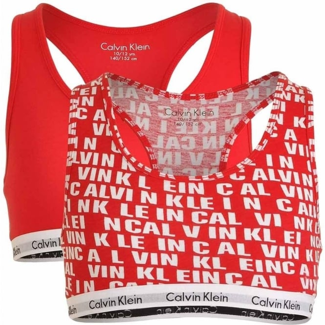Calvin Klein GIRLS 2 Pack Modern Cotton Bralette, Princess Red all over Logo / Solid Red