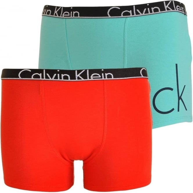 Calvin Klein Boys 2 Pack My CK Modern Cotton Boxer Trunk, Blue Radiance CK Placed Logo / Poppy