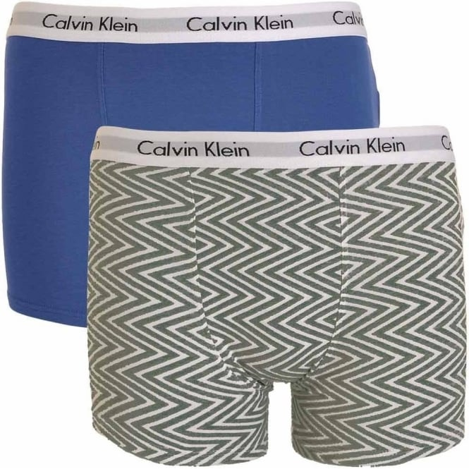 Calvin Klein Boys 2 Pack Modern Cotton Boxer Trunk, Medium Grey Chevron Print / Cobalt Water Blue