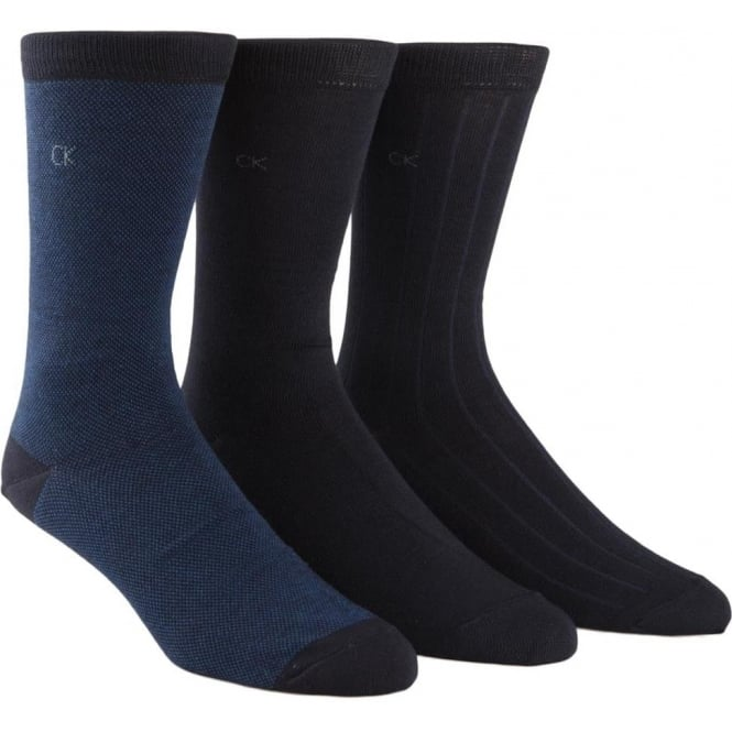 Calvin Klein 3 Pack Cotton Blend Birdseye / Rib / Solid Socks, Navy