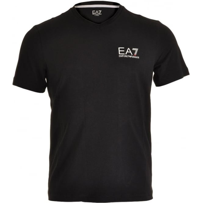 EA7 Emporio Armani Train Core ID Logo V-Neck T-Shirt, Black
